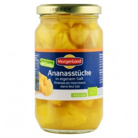 Ananas Bio, Bucati in Suc Propriu, 350 g Morgenland