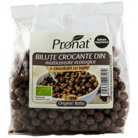 Bilute Crocante din Multicereale Bio + Ciocolata cu Lapte, 125 g Pronat