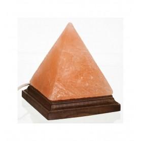 Lampa de Sare Himalaya Piramida pe Suport de Lemn