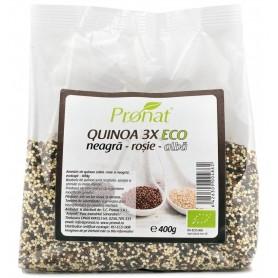 Quinoa 3X Amestec Bio de Quinoa (Neagra, Rosie si Alba) Pronat - 400 g
