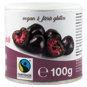 Zmeura Glazurata cu Ciocolata Neagra, 100g Pronat