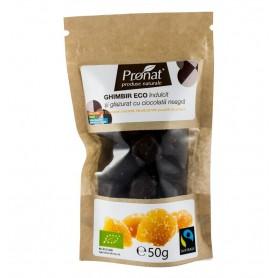 Ghimbir Indulcit si Glazurat cu Ciocolata Neagra Pronat - 50 g