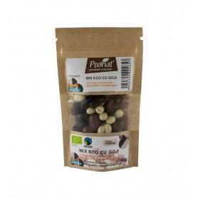Mix Bio cu Goji Seminte si Fructe Uscate Trase in Ciocolata Pronat - 40 gr