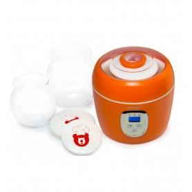 Iaurtiera-fermentator Oursson FE0205D/OR, 2 vase de sticla, 1L si 2L, Afisaj LED, Portocaliu
