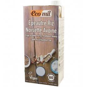 ECOMIL - Bautura vegetala bio din grau, orez, ovaz si alune, fara adaos de zahar, 1L