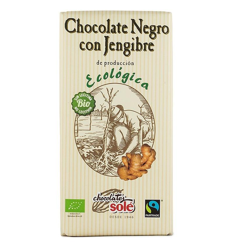 ciocolata neagra bio cu ghimbir, 56% cacao, chocolates sole, 100 gr