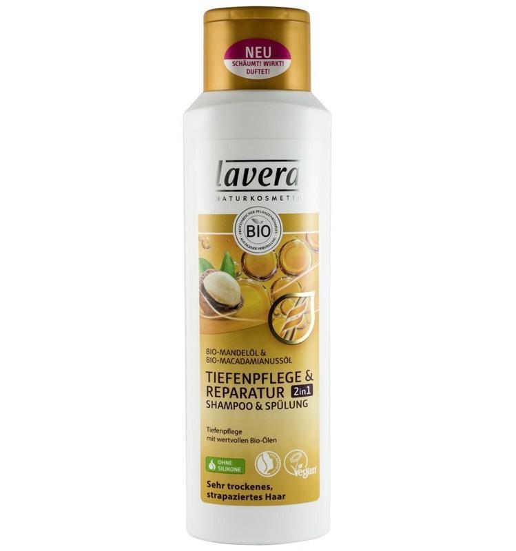 LAVERA - Sampon 2 in 1 reparator cu ulei de migdale si macadamia, 250 ml