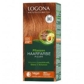 LOGONA – Vopsea de par 100 % naturala, 100g BLOND CARAMEL - Nuanța 020