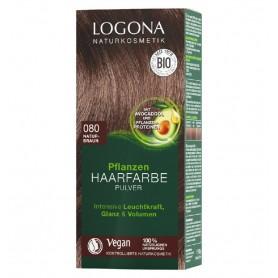 LOGONA – Vopsea de par 100 % naturala, 100g CASTANIU NATURAL, - Nuanta 080