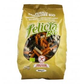 Fusilli Bio tricolore din faina de orez, 500g Felicia Bio