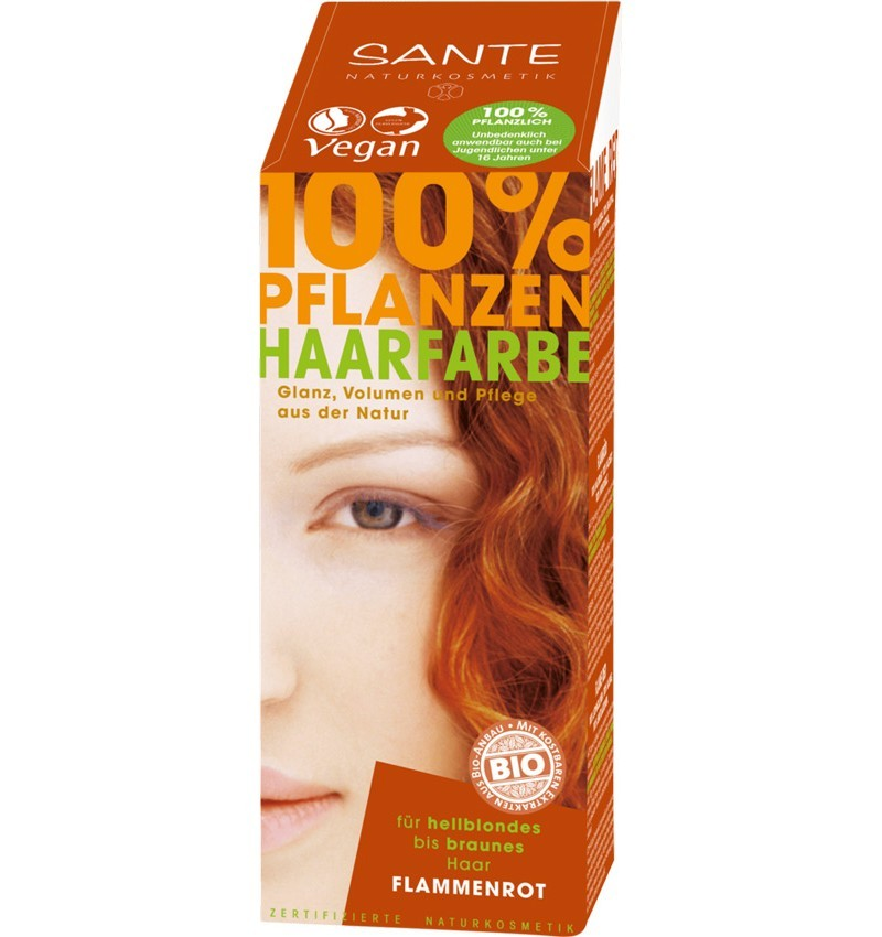 SANTE - Vopsea bio pentru par, din plante, Rosu Flacari, 100 g
