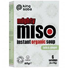King Soba – Mighty Miso – supa miso BIO instant cu tofu si ghimbir, 60g