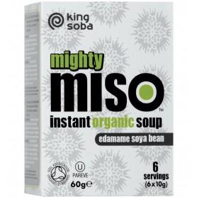 King Soba – Mighty Miso – supa miso BIO instant cu boabe de soia edamame, 60g