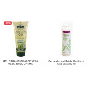 Pachet Gel Organic cu Aloe Vera 99.9% 100ML + Gel de dus cu Ulei de Mastiha si Aloe Vera 250 ml