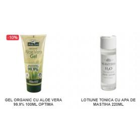 Pachet Gel organic cu Aloe Vera 99.9% 100ML + Lotiune Tonica cu Apa de Mastiha 220 ML