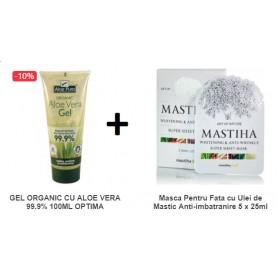 Pachet Gel Organic cu Aloe Vera 99.9% 100ML + Masca pentru Fata cu Ulei de Mastic Anti-imbatranire 5x 25 ML