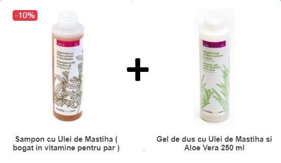 Pachet Sampon cu Ulei de Mastiha ( bogat in vitamine pentru par ) 250ML + Gel de dus cu Ulei de Mastiha si Aloe Vera 250 ml