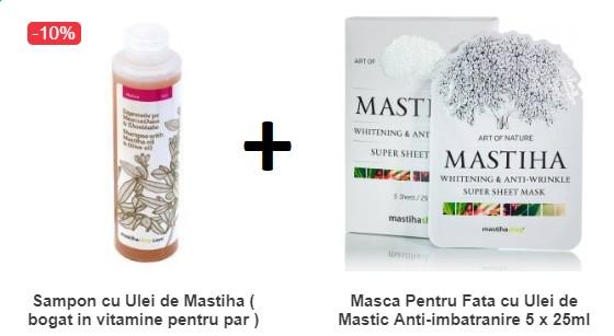Pachet Sampon cu Ulei de Mastiha ( bogat in vitamine pentru par ) 250ML + Masca Pentru Fata cu Ulei de Mastic Anti-imbatranire
