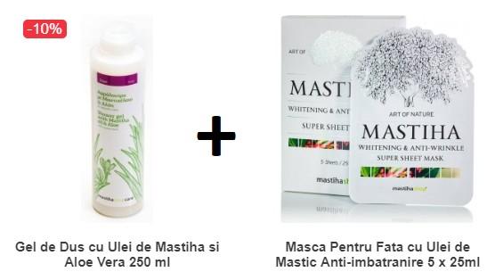 Pachet Gel de Dus cu Ulei de Mastiha si Aloe Vera 250 ML + Masca Pentru Fata cu Ulei de Mastic Anti-imbatranire