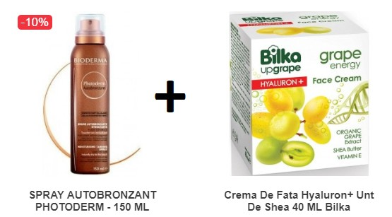 Pachet Spray Autobronzant Photoderm - 150 ML Bioderma + Crema De Fata Hyaluron+ Unt De Shea 40 ML Bilka
