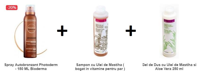 Pachet Spray Autobronzant Photoderm 150 ML +Sampon cu Ulei de Mastiha+Gel de Dus cu Ulei de Mastiha
