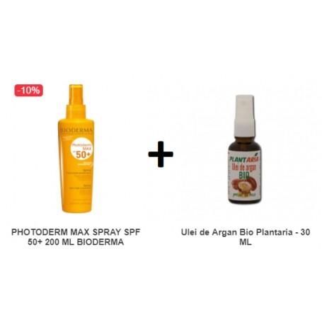 Pachet Photoderm Max Spray SPF 50+ 200 ML Bioderma + Ulei de Argan Bio Plantaria - 30 ML