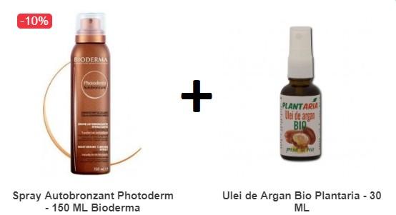 Pachet Spray Autobronzant Photoderm - 150 ML Bioderma + Ulei de Argan Bio Plantaria - 30 ML