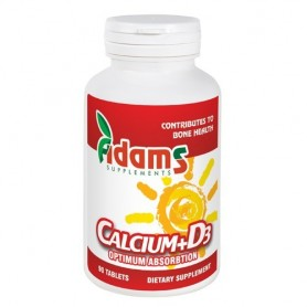 Calciu + Vitamina D3, 90 tablete Adams