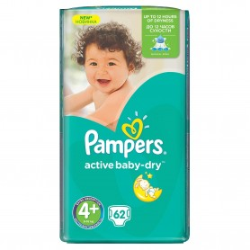 Scutece Pampers Active Baby 4+ Maxi Jumbo Pack 62 Buc