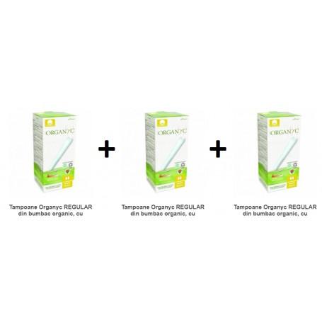 Pachet 3X Tampoane Organyc REGULAR din bumbac organic, cu aplicator 16 buc