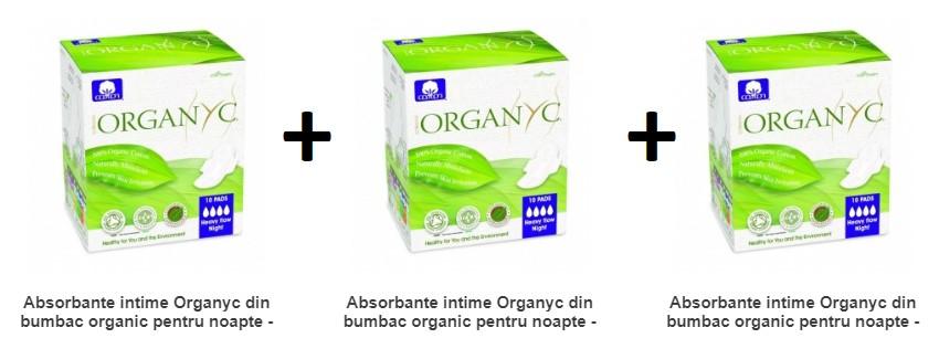 Pachet 3X Absorbante intime Organyc din bumbac organic pentru noapte - 10 buc