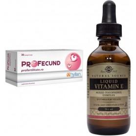 Pachet Profecund Hyllan - 30 capsule + Vitamina E Lichida Solgar 20000 IU 59.2 ML