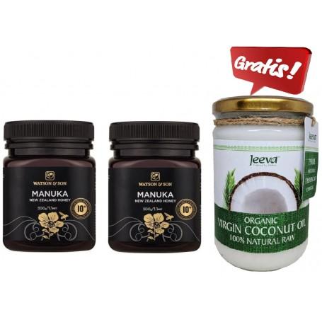 2X Miere de Manuka MGO 300+ ( UMF 10+) 500 g +Ulei de Cocos Raw Organic Extra Virgin CADOU pret ieftin