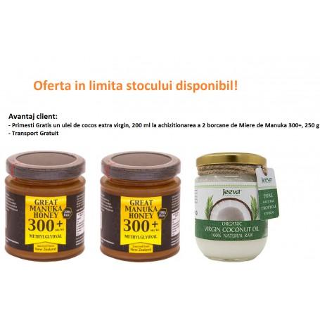 Oferta 2X Miere de Manuka MGO 300+ 250 g + Ulei de Cocos 200ml Raw Organic Extra Virgin - 52% Acid Lauric GRATIS pret ieftin