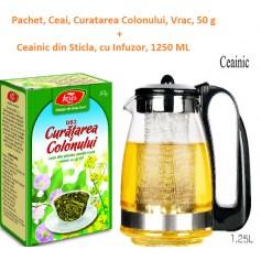 Pachet, Ceai, Curatarea Colonului, Vrac, 50 g + Ceainic din Sticla, cu Infuzor, 1250 ML