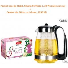 Pachet Ceai de Slabit, Silueta Perfecta 1, 20 Pliculete cu Snur + Ceainic din Sticla, cu Infuzor, 1250 ML