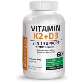 Vitamina K2 + Vitamina D3, 60 cps, Bronson