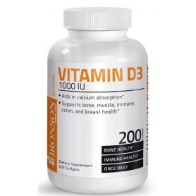 Vitamina D3, 1000 UI, 200 capsule, Bronson
