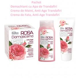 Pachet Demachiant cu Apa de Trandafiri + Crema de Maini, Anti-Age Trandafiri + Crema de Fata, Anti-Age Trandafiri