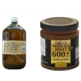 Glicerina Vegetala, 1L + Miere de Manuka MG 600+, 250g