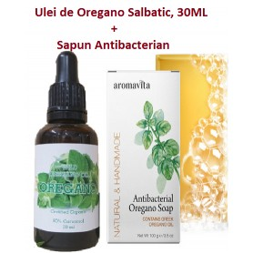 Ulei de Oregano Salbatic, 30ML + Sapun Antibacterian, 100 g