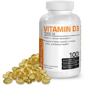 Vitamina D3, 1000UI, 100 capsule Bronson