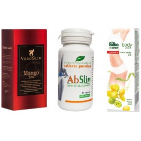 Veroslim + Capsule de Slabit, 60 cp + Gel Anticelulitic cu Mentol Strugure Alb si Cafeina, 180ML