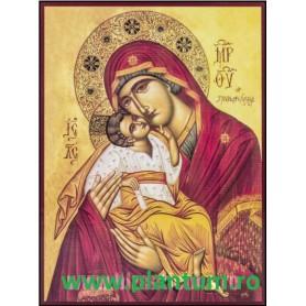 Icoana Maica Domnului cu Pruncul, Dulcea Sarutare 19x25cm