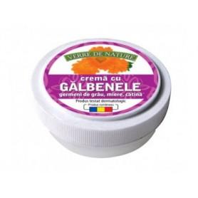 Crema cu extract de galbenele, ulei din germeni de grau, miere de albine