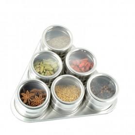 Set 6 Recipiente Condimente cu Suport Magnetic