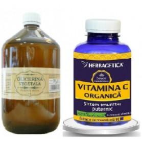 Glicerina Vegetala + Vitamina C Organica, 120 cps