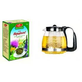 Pachet Ceai pentru Ficat Hepatocol, 50 g + Ceainic din Sticla, cu Infuzor, 1250 ML