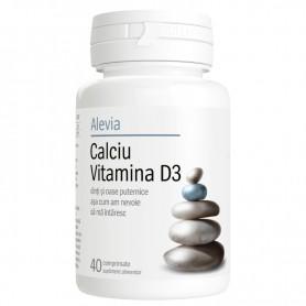 Calciu+ Vitamina D3, 40 comprimate Alevia