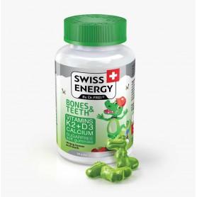 Bones & Teeth, Vitamine si Minerale: D3, K2 Și Calciu, 60 Drajeuri Moi Pentru Copii, Swiss Energy